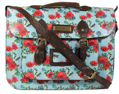 Swanky Swans Hayley Dragonfly & Rose Top Handle Satchel Blue Perfect for Back to school!