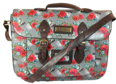 Swanky Swans Hayley Dragonfly & Rose Top Handle Satchel Grey Perfect for Back to school!