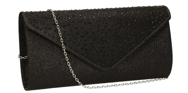 SWANKYSWANS Hazel Diamante Glitter Clutch Bag Black