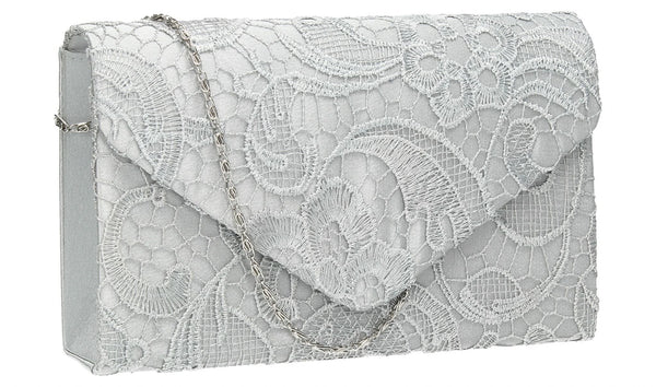 SWANKYSWANS Holly Lace Clutch Bag Silver