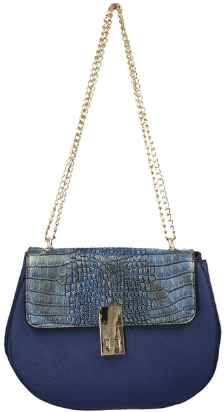 Swanky Swans Hurley Metallic Snakeskin & PU Leather Crossbody BlueWomens Girls Boys School Crossbody Animal Cute