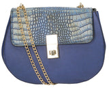 Hurley Metallic Snakeskin & PU Leather Crossbody Blue