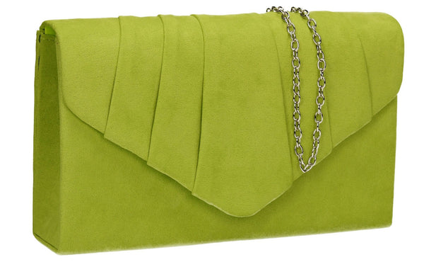SWANKYSWANS Iggy Faux Suede Clutch Bag Lime Green Cute Cheap Clutch Bag For Weddings School and Work