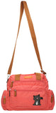 Kempton Shoulder Bag with Lola Cat Motif - Coral Pink-Handbags-SWANKYSWANS