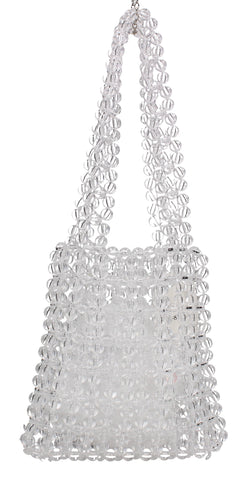 Masie Beaded Clear Acrylic Mini Tote Party Clutch Bag