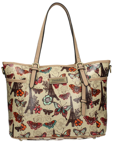 Noel Paris Butterfly Tote Bag - Beige-Handbags-SWANKYSWANS