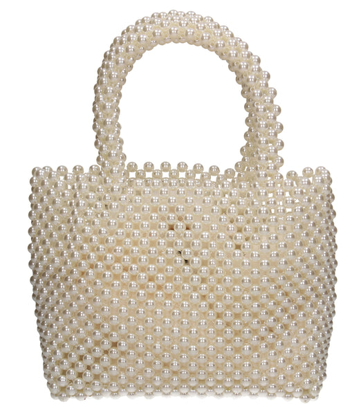 Sofia Faux Pearl Vintage Mini Evening Bead Tote Bag