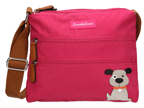 Jake Womens Ladies Designer Multi Zip Crossbody Side Bag with Danny Dog Motif - Fuschia-Crossbody-SWANKYSWANS