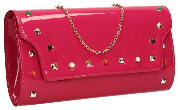 SWANKYSWANS Mya Patent Clutch Bag Fuschia Cute Cheap Clutch Bag For Weddings School and Work