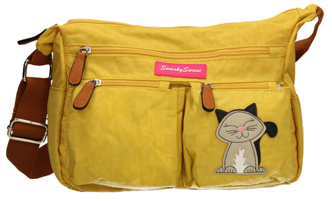 Norma Shoulder Bag with Cat Motif - Mustard-Handbags-SWANKYSWANS