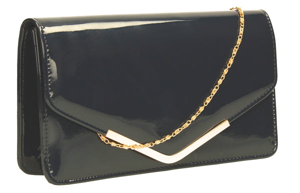 SWANKYSWANS Paris Patent Clutch Bag Navy Cute Cheap Clutch Bag For Weddings School and Work
