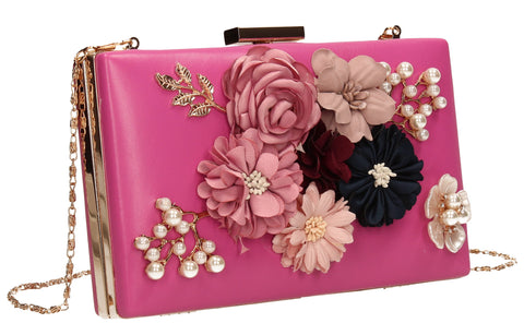 Vanda 3D Floral Box Evening Clutch Bag Pink-Clutch Bag-SWANKYSWANS