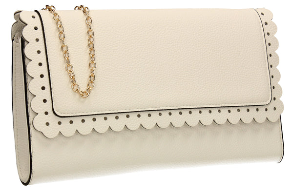 SWANKYSWANS Megan Clutch Bag White Cute Cheap Clutch Bag For Weddings School and Work