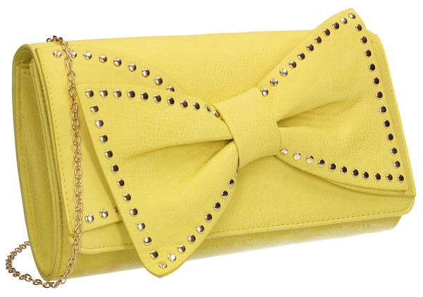 SWANKYSWANS Kelly Bow Clutch Bag Yellow Cute Cheap Clutch Bag For Weddings School and Work