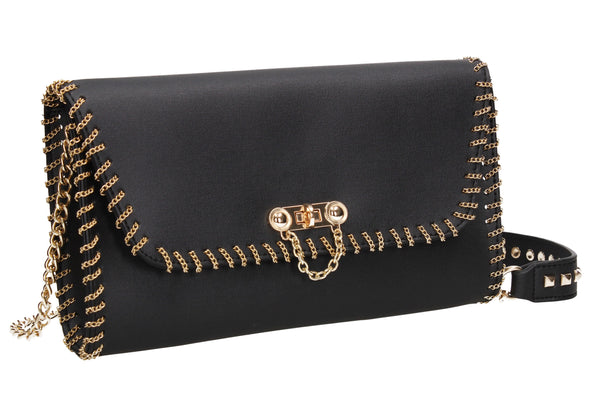 SWANKYSWANS Charley Clutch Bag Black Cute Cheap Clutch Bag For Weddings School and Work