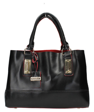 Kelly Two Tone - Black & Red-Handbags-SWANKYSWANS