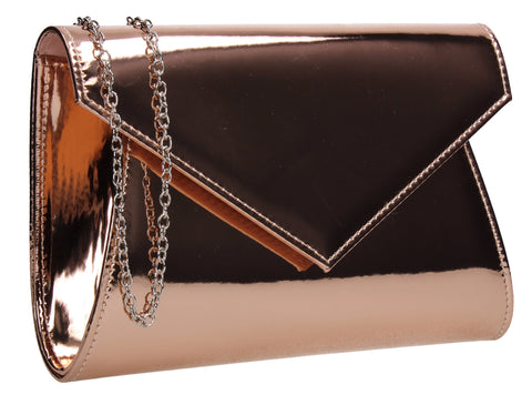 SwankySwans Lenny Shiny Clutch Bag Champagne Clutch Bag Envelope Faux Leather Metallics Patent Rose  Shiny