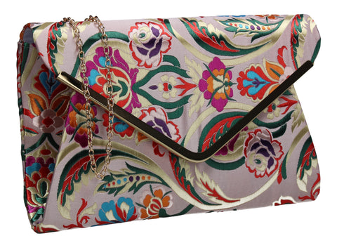 Cedar Floral Clutch Bag Champagne SWANKYSWANS Summer Faux Suede Stitching Cute Vintage Floral Clutch Bag Great With Jeans