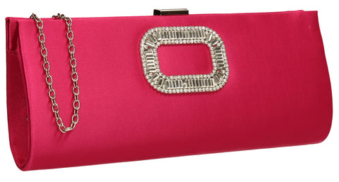 Kerr Satin Clutch Bag Fuschia-Clutch Bag-SWANKYSWANS