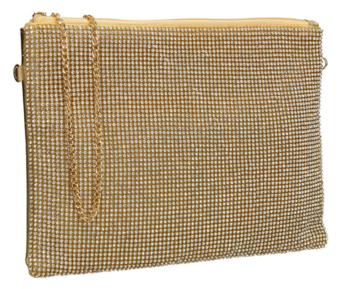 Marla Slim Clutch Bag Gold-Clutch Bag-SWANKYSWANS