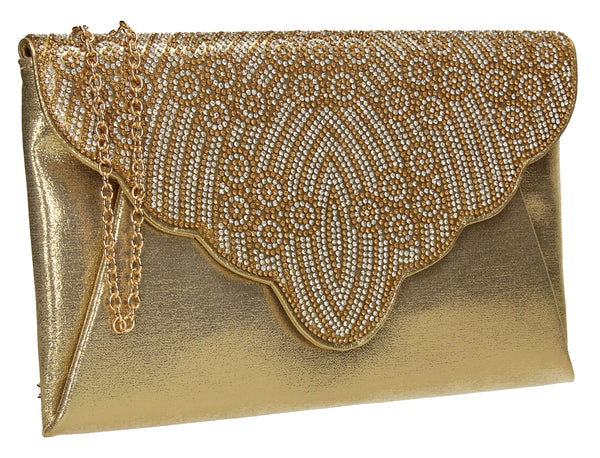 SWANKYSWANS Selina Clutch Bag Champagne Cute Cheap Clutch Bag For Weddings School and Work