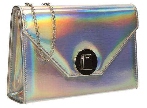 SWANKYSWANS Angel Reflective Shiny Clutch Bag Hologram Cute Cheap Clutch Bag For Weddings School and Work