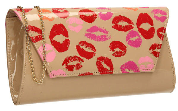 SWANKYSWANS Vicky Kiss Print Clutch Bag Light Beige Cute Cheap Clutch Bag For Weddings School and Work