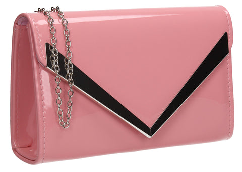 Wendy V Patent Clutch Bag Pink