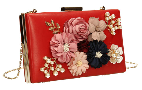 Vanda 3D Floral Box Evening Clutch Bag Red | SWANKYSWANS