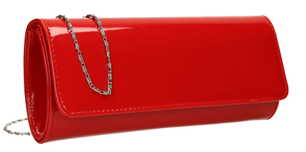 SWANKYSWANS Jasmine Patent Clutch Bag Red Cute Cheap Clutch Bag For Weddings School and Work
