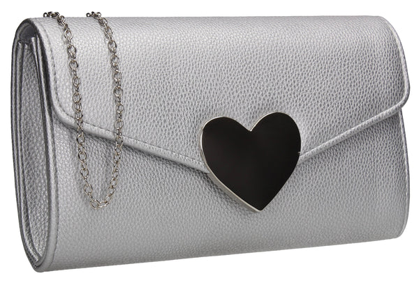 SWANKYSWANS Corrie Heart Clutch Bag Silver Cute Cheap Clutch Bag For Weddings School and Work