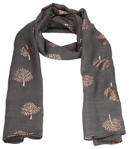 Mulberry Rose Gold Tree Scarf Charcoal