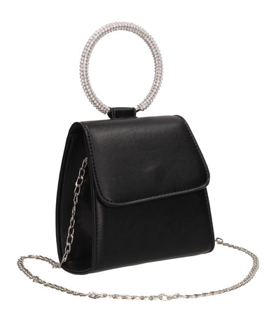 Izzie Flapover Faux Leather Diamante Ring Handle Clutch Bag Black