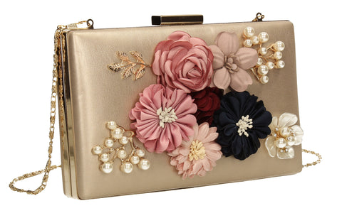Vanda 3D Floral Box Evening Clutch Bag Gold-Clutch Bag-SWANKYSWANS