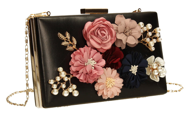 SWANKYSWANS Vanda 3D Floral Box Evening Clutch Bag Black Cute Cheap Clutch Bag For Weddings School and Work