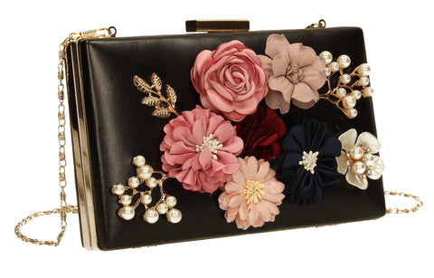 Vanda 3D Floral Box Evening Clutch Bag Black