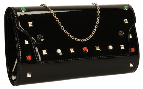 Mya Patent Clutch Bag Black-Clutch Bag-SWANKYSWANS