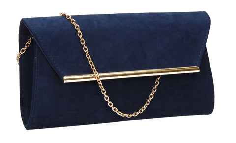 SwankySwans Sabrina Clutch Bag Navy Blue Clutch Bag Faux Suede Flapover Night Out Party