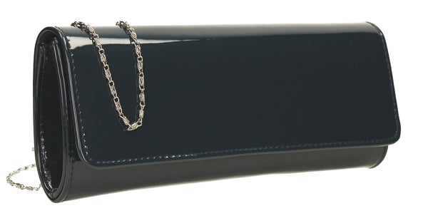 SWANKYSWANS Jasmine Patent Clutch Bag Navy Cute Cheap Clutch Bag For Weddings School and Work