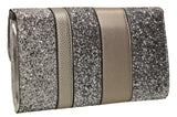 SWANKYSWANS Gigi Glitter Clutch Bag Pewter Cute Cheap Clutch Bag For Weddings School and Work