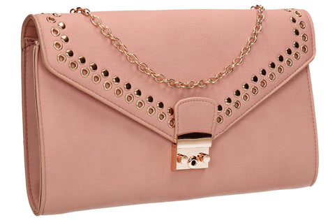SWANKYSWANS Beni Clutch Bag Pink Cute Cheap Clutch Bag For Weddings School and Work