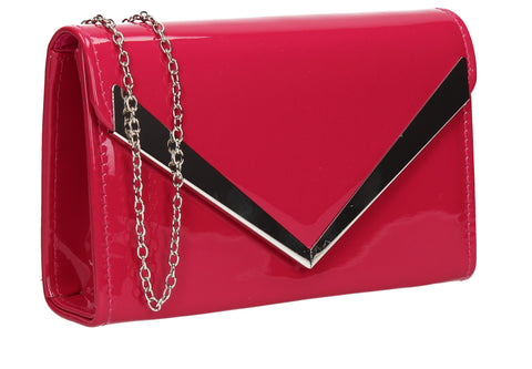 Wendy V Patent Clutch Bag Fuschia