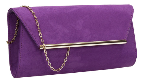 SWANKYSWANS Sabrina Clutch Bag Purple Cute Cheap Clutch Bag For Weddings School and Work
