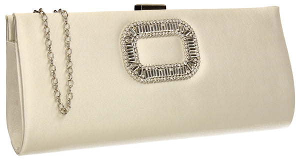 SWANKYSWANS Kerr Satin Clutch Bag Ivory Cute Cheap Clutch Bag For Weddings School and Work