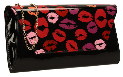 SWANKYSWANS Vicky Kiss Print Clutch Bag Black Cute Cheap Clutch Bag For Weddings School and Work