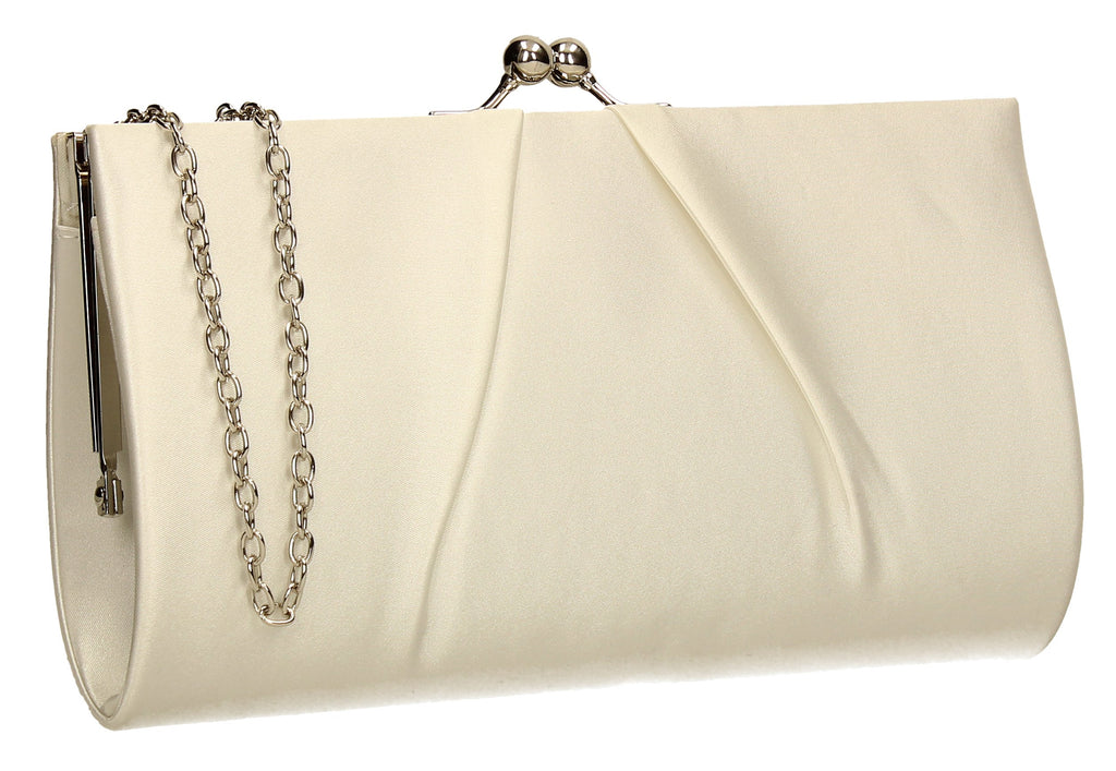 look out for outlet online diverse styles Katy Satin Clutch Bag Ivory | Clutch Bags | SWANKYSWANS