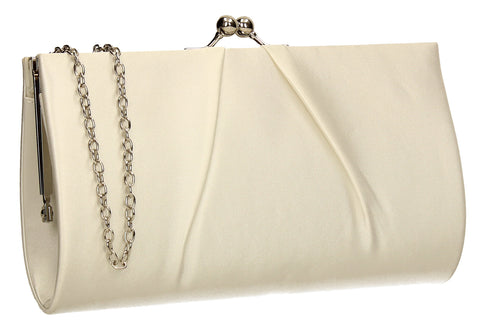 SWANKYSWANS Katy Satin Clutch Bag Ivory Cute Cheap Clutch Bag For Weddings School and Work
