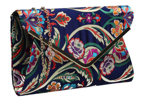 Cedar Floral Clutch Bag Navy Blue SWANKYSWANS Summer Faux Suede Stitching Cute Vintage Floral Clutch Bag Great With Jeans