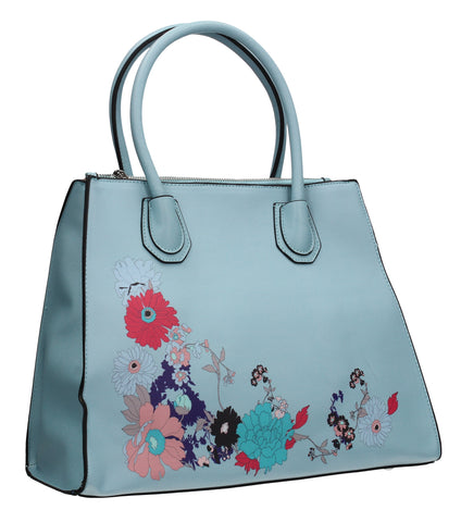 Hanna Floral Handbag Pale BlueBeautiful Cute Animal Faux Leather Clutch Bag Handles Strap Summer School