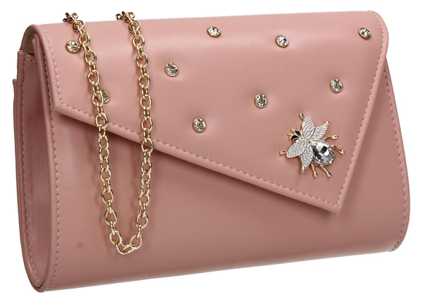 SWANKYSWANS Nylah Clutch Bag Pink Cute Cheap Clutch Bag For Weddings School and Work